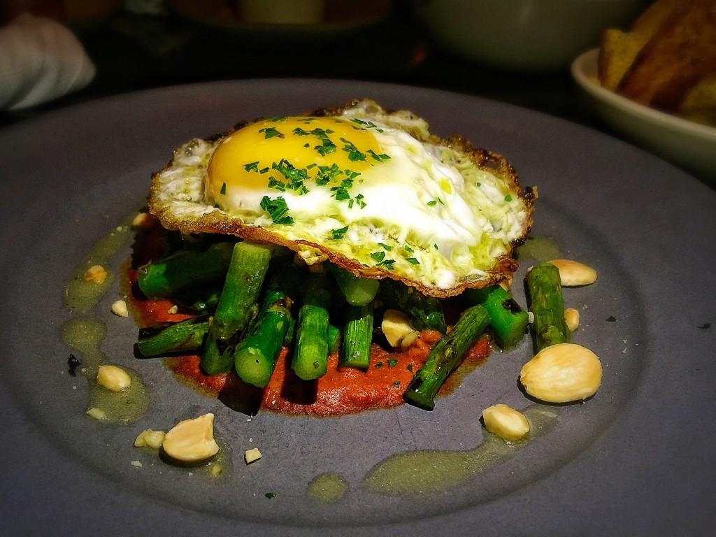 Grilled aspargus + romesco + meyer lime + egg + almonds ($16)