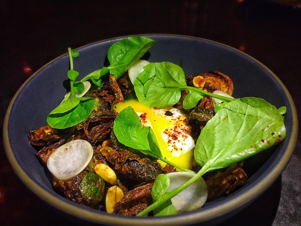 Crispy brussel sprouts + turnip + cinammon + peanuts + egg ($16)