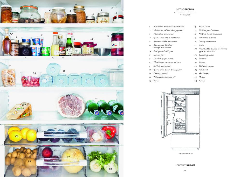 Dentro da geladeira do premiado chef, Massimo Bottura. Atualmente, o seu restaurante Osteria Francescana é considerado o 2º melhor restaurante do mundo! (Fonte: Bon Appétit)