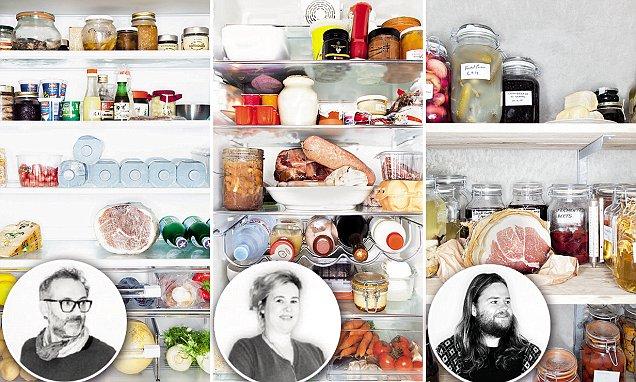 Alguns dos chefs que tiveram suas geladeiras exploradad: Massimo Bottura, Helene Darroze e Magnus Nilsson (Fonte: Daily Mail)