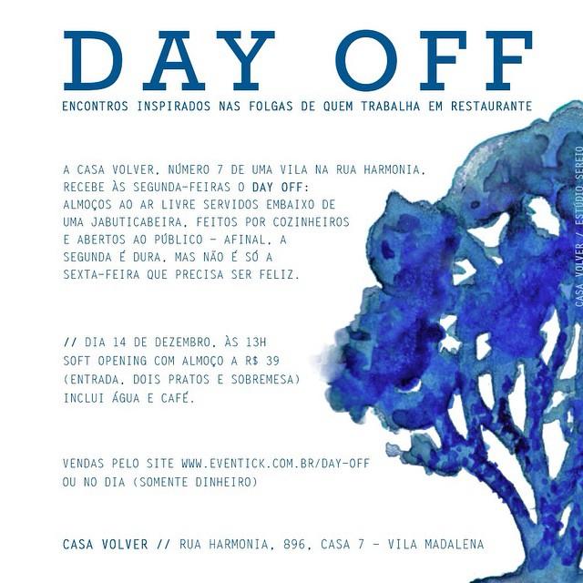 Flyer do evento de Soft Opening do Day Off